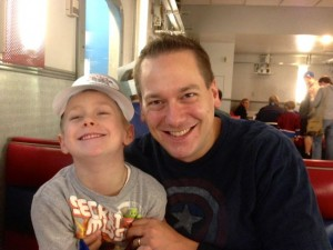 Me and my beloved son Jonathan sharing a laugh at a train-themed diner