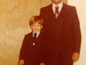 Me posing with my dad for a photo (circa 1980)