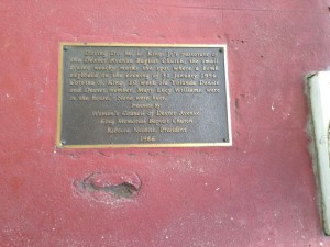 The house bomb left a mark on the porch of the King's home that is still there today.