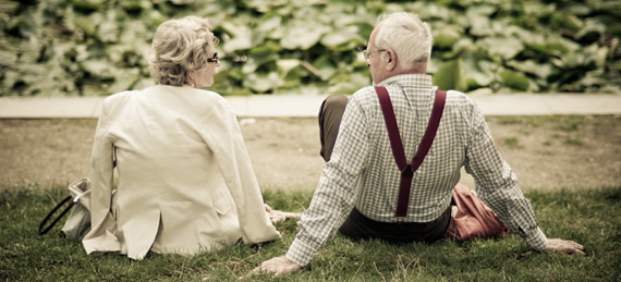 Elderly Couple in a park